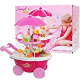 FunBlast Ice Cream Cart Pretend Play Toys, (Set Of 39 Pcs) Ice Cream Kitchen Play Cart Kitchen Set, Mini Candy Ice Cream Trolley Shop Pretend Play Set