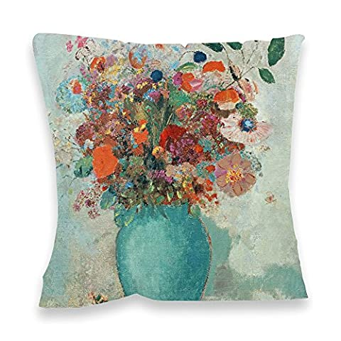 Flowers in a Turquoise Vase, c.1912 (oil on.. - 40x40cm Premium Feather Filled Faux Suede Cushion - Art247