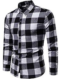 BaZhaHei Herren Hemd kariert Herren Vintage Holzfällerhemd Karo-Hemd Slim  Fit Trachtenhemd Super Modern Super 754b097992
