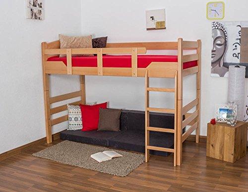 Kinderbett/Hochbett Easy Premium Line K14/n, Buche Vollholz massiv Natur - Maße: 90 x 190 cm -