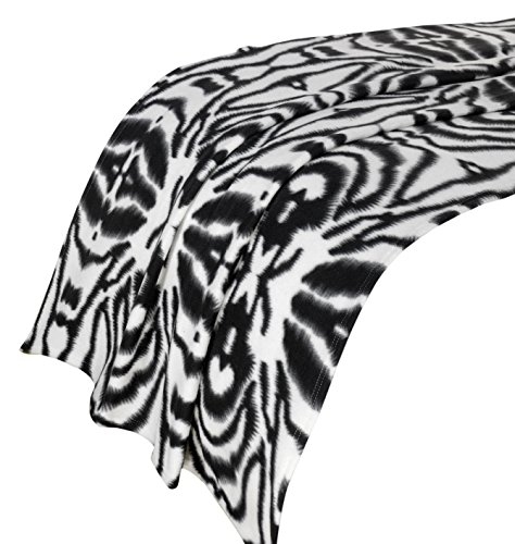 Dreamscene Zebra Print Throw Blanket, Animal Print Bedspread, Black/White