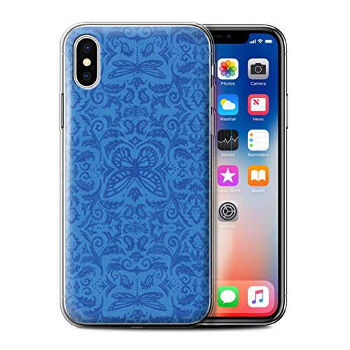 Stuff4 Gel TPU Hülle / Case für Apple iPhone X/10 / Rosa Muster / Insekten Muster Kollektion Blau