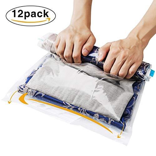 Set da 12 pz, sacchetti buste sottovuoto salvaspazio immagazzinaggio a vuoto pompa senza bisogno, per viaggi, rulli di mano e risparmio di spazio per vestiti asciugamani - 3 dimensioni, trasparente