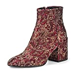 ASH M-120214-002 Egoiste Damen modische Stiefelette aus Textil mit 70-mm-Absatz, Groesse 40, Bordeaux