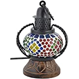 ALs AnM Fashion Handicrafted Wooden Glass Mosaic Wall Hanging Decorative Table Lamp Show Piece (12 Cm X 9 Cm X 18 Cm,WH255)