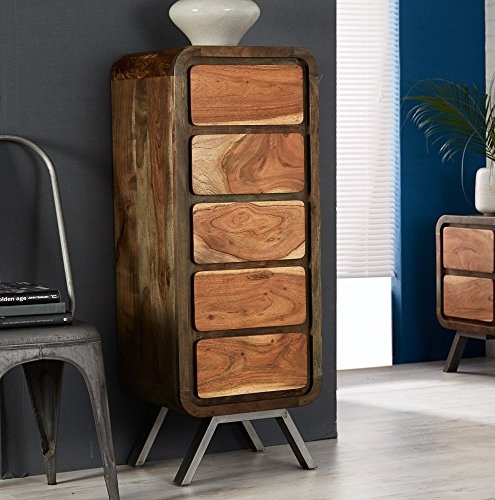 Aspen Reclaimed Iron and Wood 5 Drawer Chest Living Room Furniture ...