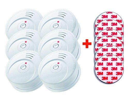 Jeising GS506 G 6er Rauchwarmelder KRIWAN zertifiziert EN14604 incl. Magnetbefestigung Magnetopad...
