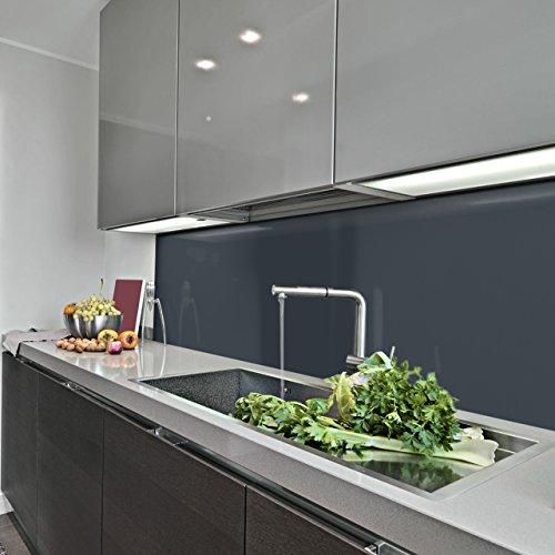 KeraBad Küchenrückwand Küchenspiegel Wandverkleidung Fliesenverkleidung Fliesenspiegel aus Aluverbund Küche Anthrazit glanz/matt 50x140cm