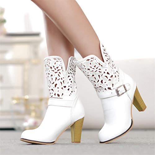 ... YE Damen Herbst High Heels Cut Out Ankle Boots Stiefeletten mit  Blockabsatz Schnallen Schuhe Weiß 82fb378086