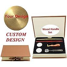 mnyr logotipo personalizado imagen cartas monograma mango de madera sellado sello de cera cuchara de fusión de papel duro caja de regalo Set Kit