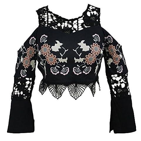 Bling-Bling Crochet Cold Shoulder Bell Sleeve Crop Top(Black,L)