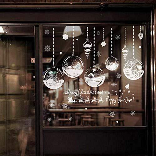 NDSLJSLQT Wandtattoo Wohnkultur Weihnachten Fensteraufkleber Selbstklebende Hängende Schneeball Anhänger Neujahr Weihnachtsfest Glasaufkleber