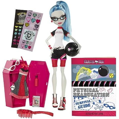 Monster High W2557 - Muñeca Ghoulia Yelps vestida de gimnasia con su taquilla (Mattel)
