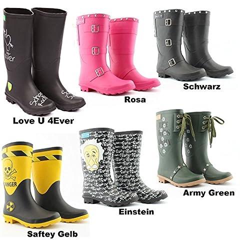 Kinder Gummistiefel - viele Varianten Gr. 32-38 - Mädchen & Jungen Regenstiefel Mädchen Jungen Stiefel Mooi en Lief (37, Schwarz mit