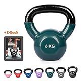 Joyletics Kettlebell »shiny« mit Vinyloberfläche | Vinyl Kugelhantel | rutschfest und bodenschonend für Gymnastik, Fitness- und Krafttraining | 6,0 kg, grün