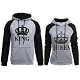 Wangyue King Queen passende paar Pullover Hoodie Set Valentinstag Geschenk seine & ihr Hoodies Grau Damen S + Herren M