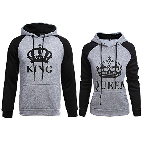 Hoodie Pullover King Queen Druck 2 Stk Partner Look Pärchen Viele Farben XS 5XL