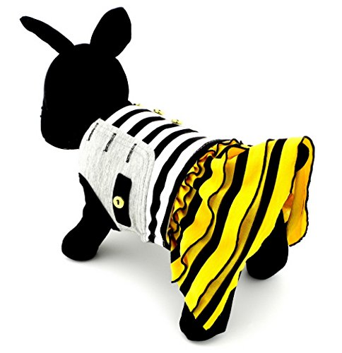 ranphy Kleine Haustier Kleidung für Hunde Katzen Edle Baumwolle Falz gestreift Rock Tutu Kleid