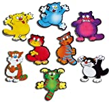 Kühlschrankmagnete Katze Magnete für Magnettafel Kinder stark 8er Set Tiere lustig mit Motiv Comic Katzen Bunt
