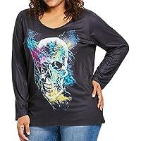 Blusas Mujer, ASHOP Casual cráneo de impresión Talla Extra Sudaderas Ropa en Oferta Camisetas Manga Larga Tops de Fiesta Abrigos Invierno de Mujer otoño
