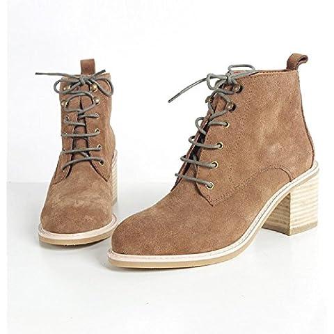 YYH Stivali scarpe giornaliero tacco alto Chelsea Boots bestiame camoscio donna , 37 , brown