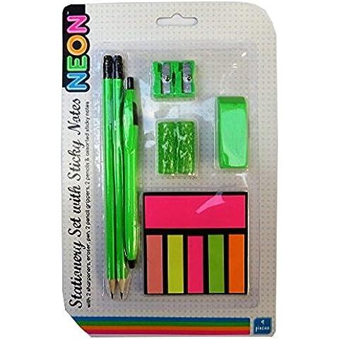 Paquete de Papelería con las Notas Adhesivas - Diseño de Neón - Verde - 9 Pieza