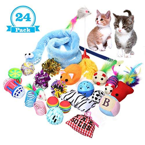 Focuspet Katzenspielzeug, CatToy Katzenspielzeug Set Für Kätzchen Beinhaltet Katzenspielzeug Mäuse Bälle Interaktive Spielzeuge usw. Variety Packung mit 24 Stücke
