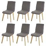 Set 6x sedie sala da pranzo Zadar tessuto legno massello 44x46x94cm ~ grigio con cuciture