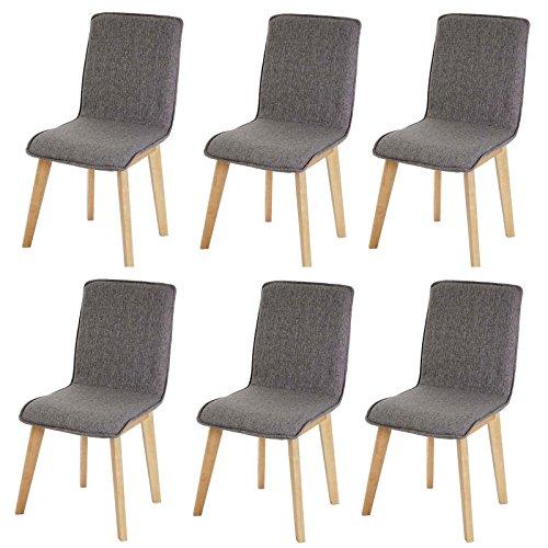 6x chaise de salle à manger Zadar, fauteuil, design rétro des années 50, tissu ~ gris avec couture
