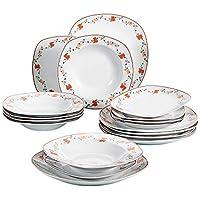 VEWEET 'Gloria' Juegos de vajilla 18 Piezas vajillas de Porcelana   vajilla para 6 Personas   Cada uno con 6 Platos de Postre, 6 Platos de Sopa y 6 Plato Plano