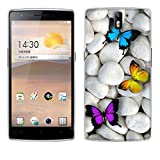 Fubaoda OnePlus One Hülle Case, [Schmetterlinge] OnePlus One ?1+1? Case silikon Hülle Premium Durchsichtig Handyhülle Backcover Durchsichtig hülle Case Schutzhüllen TPU Case für OnePlus One ?1+1?