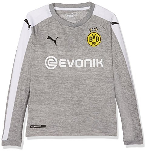 PUMA Jungen Bvb Kids LS 3rd Replica Shirt with Sponsor Logo T-Shirt, Light Gray Heather-White, 176 (Langarm 3rd)