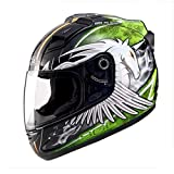 XC Harley Motocross Cross-Country Ski De Fond Casque Complet, Multi-Stage De Ventilation LED De Nuit Protection D'équitation, Licorne Noire Verte,L...