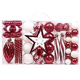 Valery Madelyn 100 Piezas Bolas de Navidad de 3-8cm, Adornos Navideños para Arbol, Decoración de Bolas de Navidad Inastillable Plástico de Rojo y Blanco, Regalos de Colgantes de Navidad (Tradicional)