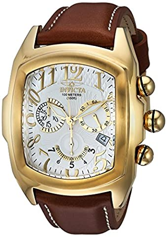 INVICTA MEN'S LUPAH BROWN LEATHER BAND STEEL CASE SWISS QUARTZ WATCH 13693