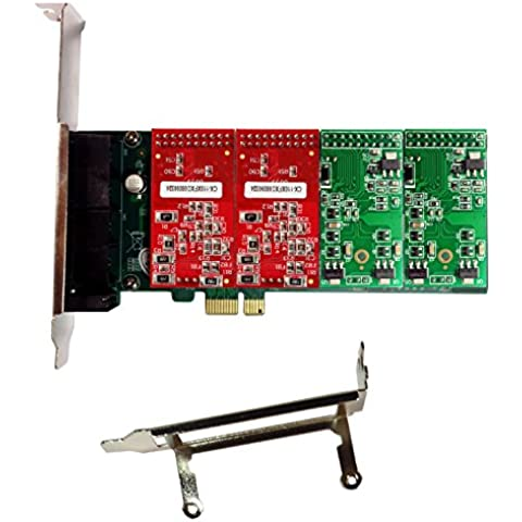 Asterisk Card with 2 FXO+2 FXS Ports,PCI-E Connector,with Low Profile for 2U
