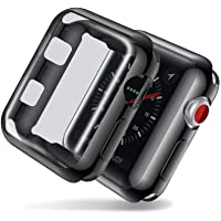 OJOS Case Compatible with Apple Watch 42mm Screen Protector Soft TPU All-Around Black Cover iWatch Case for Apple Watch Series 2, 3 (Black, 42mm)
