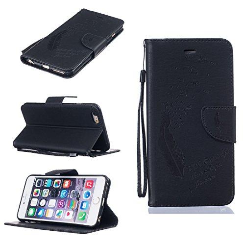 Chreey Coque Apple Iphone 6 / 6S (4.7 pouces) (Solid color - Plume - Avaler),PU Cuir Portefeuille Etui Housse Case Cover ,carte de crédit pour , serrures magnétiques, support pliable, idéal pour proté noir