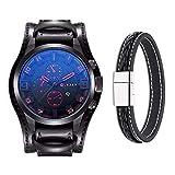 Montre pour homme Mode militaire classique bracelet cuir montre, calendrier, affichage de la date (Rouge)
