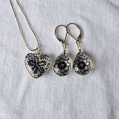 Noir Aeonium Arboreum Zwartkop Fleur de dentelle Cœur Amour 925 Sterling Argent Ensembles de bijoux Collier Des boucles d'oreilles