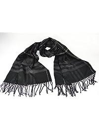 Large Soft designer check style winter Plaid scarf Black