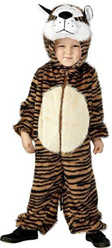 Smiffys Kinder Unisex Tiger Kostüm, Jumpsuit mit Kapuze, Größe: S, (Kostüm Tiger Kinder)