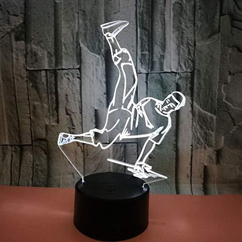 Nachtlicht 3D neben Tischlampe Illusion HipHop 7 Farben ändern Touch Switch Schreibtisch Dekoration Lampen Geburtstag Weihnachtsgeschenk mit Acryl Flat & ABS Base & USB Kabel -