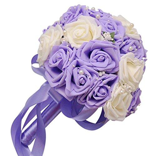 Galleria fotografica Hlhn Colorfulcrystal Roses perla damigella d' onore wedding bouquet da sposa decorazione di fiori artificiali in seta per ufficio casa scrivania tavoli da giardino Outdoor party Purple