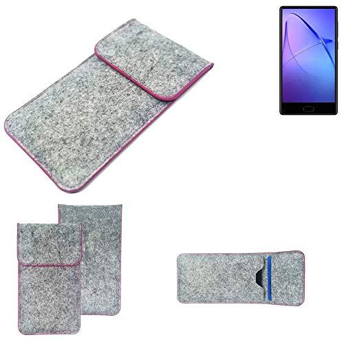 K-S-Trade® Filz Schutz Hülle Für -Leagoo KIICA Mix- Schutzhülle Filztasche Pouch Tasche Case Sleeve Handyhülle Filzhülle Hellgrau Pinker Rand