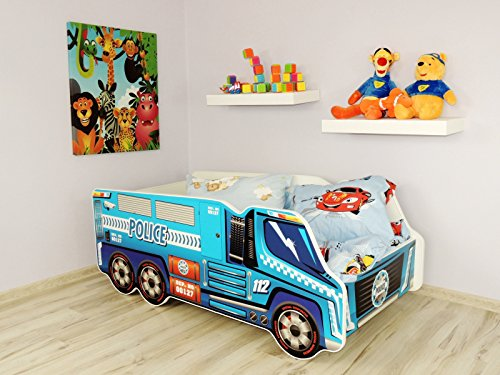 TODDLER CHILDREN KIDS BED INCLUDING MATTRESS CAR TRUCK (Police Truck)