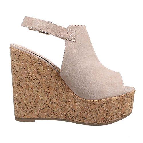 Damen Schuhe, B8007Y-SP, SANDALETTEN KEIL WEDGES PLATEAU PUMPS Beige