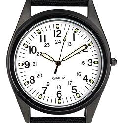 Orkina Black Case White Dial Nylon Canvas Band Wrist Watch P104IP-BW