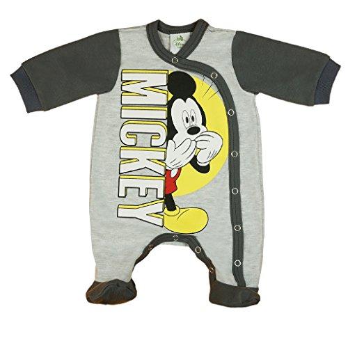 Jungen BABY-STRAMPLER mit Füßchen UNGEFÜTTERT von Mickey Mouse in GRÖSSE 56, 62, 68, 74, blau, grau, Baby-Schlafanzug LANG-ARM mit Druck-Knöpfen durchgehend, Spiel-Anzug Color Grau, Size 68