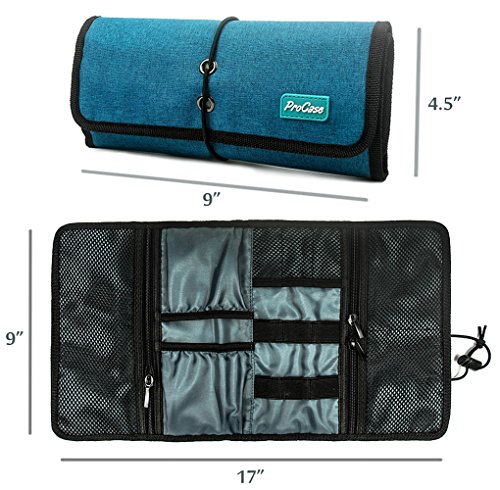 Grigio Universale Piccolo Accessori Gadget Custodia Viaggio Conservazione Custodia per Caricabatterie Cavi USB Schede di Memoria SD Auricolare Disco Rigido ProCase Roll-up Organizzatore Elettronica